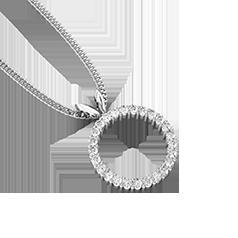 Pandantiv cu Mai Multe Diamante Aur Alb 18kt cu 25 Diamante Rotund Briliant Formand un Cerc