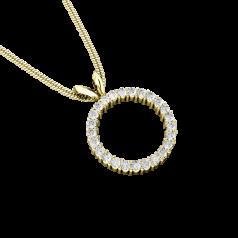 Pandantiv cu Mai Multe Diamante Aur Galben 18kt cu 25 Diamante Rotund Briliant Formand un Cerc