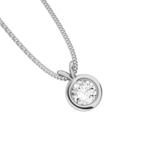 Pandantiv cu Diamant Solitaire Aur Alb 18kt cu Diamant Rotund Briliant in Setare Rub-Over