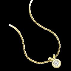 Pandantiv cu Diamant Solitaire Aur Galben 18kt cu Diamant Rotund Briliant in Setare Rub-Over