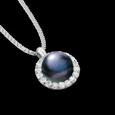 RDPB106W-Pandantiv cu Perla si Diamante din Aur Alb 18kt cu Perla Neagra de 7mm si 18Diamante Rotunde Briliant