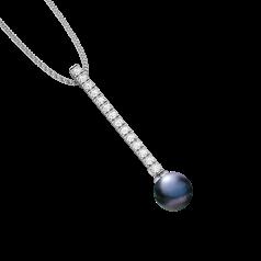 Pandantiv din Aur Alb 18kt cu o Perla Neagra de 9mm si Diamante Rotunde