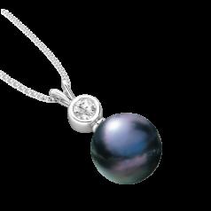 RDPB130W-Pandantiv cu Perla si Diamante din Aur Alb 18kt cu Perla Neagra de 9mm si Diamante Rotunde Briliant,Setare Rub Over