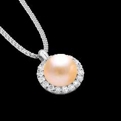 RDPC106W-Pandantiv cu Perla si Diamante din Aur Alb 18kt cu Perla Piersica de 7mm si 18Diamante Rotunde Briliant