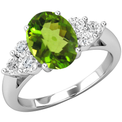 Inel Peridot si Diamant Dama Aur Alb 18kt cu Peridot Oval si 3 Diamante Rotund Briliant pe Fiecare Parte