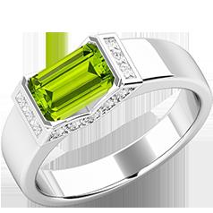 Inel Dama Aur Alb 18kt cu Peridot si Diamante