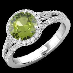 Inel Dama Aur Alb 18kt cu Peridot si Diamante, Stil Halo