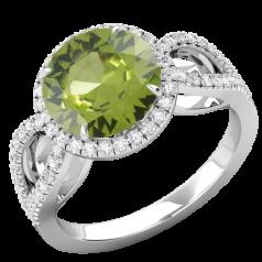 RDPER748W-Inel cu Peridot si Diamante Dama Aur Alb 18kt,un Peridot Rotund Briliant Setate cu Gheare si o Sina Superba Despicata