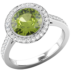 RDPER768W-Inel Dama Aur Alb 18kt cu Peridot si Diamante, Stil Halo