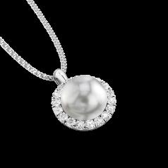 Pandantiv cu Perla si Diamante din Aur Alb 18kt cu Perla Argintie de 7mm si Diamante Rotunde Briliant