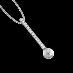 Pandantiv din Aur Alb 18kt cu Perla de Culoare Argintiu Inchis de 9mm si Diamante Rotunde