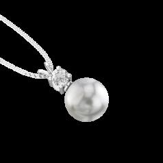 RDPG111W-Pandantiv cu Perla si Diamante din Aur Alb 18kt cu Perla Argintie de 9mm si Diamante Rotunde Briliant