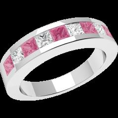 Inel cu Safir Roz si Diamant Dama Aur Alb 18kt cu 9 Pietre in Setare Tip Canal