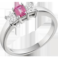 RDPK167W-Inel cu Safir Roz si Diamant Dama Aur Alb 18kt cu un Safir Roz Forma Smarald si 2 Diamante Forma Princess
