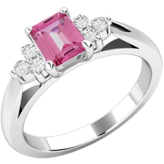 Inel cu Safir Roz si Diamant Dama Aur Alb 18kt cu un Safir Roz Forma Smarald si Diamante Rotunde