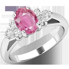Inel cu Safir Roz si Diamant Dama Aur Alb 18kt cu un Safir Roz Oval si Diamante Rotund Briliant pe Margini