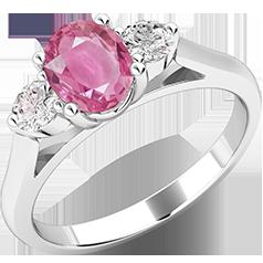 Inel cu Safir si Diamant Dama Aur Alb 18kt cu un Safir Oval si 2 Diamante Rotunde Briliant