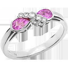 Inel cu Safir Roz si Diamant Dama Aur Alb 18kt cu 2 Safire Roz Forma Para si 5 Diamante Rotunde
