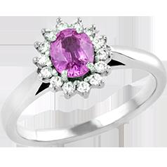 Inel cu Safir Roz si Diamant Dama Aur Alb 18kt cu un Safir Roz Oval in Centru si Diamante Rotunde