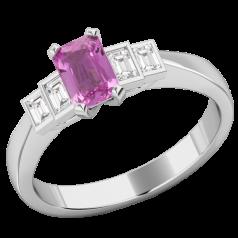 RDPK717W--Inel cu Safir Roz si Diamant Dama Aur Alb 18kt cu un Safir Roz Taietura Smarald si 4 Diamante Forma Bagheta,in Setare Rub-Over