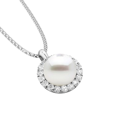 Pandantiv cu Perla si Diamante din Aur Alb 18kt cu Perla Alba de 7mm si Diamante Rotunde Briliant