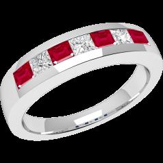 RDR033W-Inel cu Rubin si Diamant Dama Aur Alb 18kt cu 7 Pietre, Rubine si Diamante in Setare,Forma Princess,Tip Canal