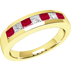 RDR033Y - 18ct yellow gold ruby and diamond channel set 7 stone ring