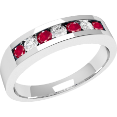 Ruby and Diamond Ring for Women in 9ct white gold with 7 stones, 4 round rubies and 3 round brilliant cut diamonds in a channel setting