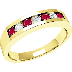 Ruby and Diamond Ring for Women in 9ct yellow gold with 7 stones, 4 round rubies and 3 round brilliant cut diamonds in a channel setting