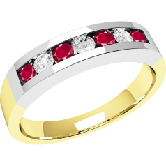 RDR036/9YW - 9ct yellow and white gold 7 stone ruby and diamond ring