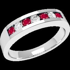 Inel cu Rubin si Diamant Dama Aur Alb 18kt cu 4 Rubine si 3 Diamante in Setare Canal