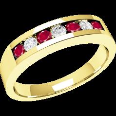 RDR036Y - 18kt Gelbgold 7 Steine Rubin und Diamant Ring