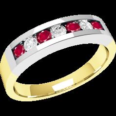 RDR036YW - 18kt Gelb- und Weissgold 7 Steine Rubin und Diamant Ring