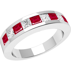 Ruby and Diamond Ring for Women in 18ct white gold with 5 square rubies and 4 princess cut diamonds in a channel setting