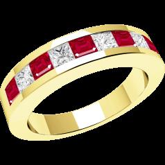 Inel cu Rubin si Diamant Dama Aur Galben 18kt cu 9 Pietre, Rubine si Diamante in Setare Tip Canal