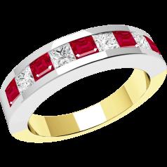 Rubin und Diamant Ring für Dame in 18kt Gelbgold und Weißgold mit 9 Steinen in Kanalfassung