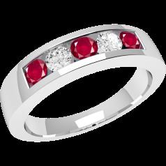 RDR047W - 18kt Weissgold 5 Steine Ring mit Rubinen und Diamanten in Kanalfassung