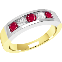 RDR047YW - 18ct yellow and white gold channel set ruby and diamond 5 stone ring