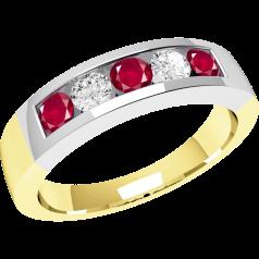 RDR047YW - 18kt Gelb- und Weissgold 5 Steine Ring mit Rubinen und Diamanten in Kanalfassung
