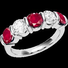 Inel cu Rubin si Diamant Dama Aur Alb 18kt cu 5 Pietre, Rubine si Diamante cu Setare Bara