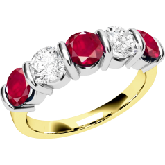 RDR048YW - 18ct yellow and white gold ruby and diamond bar set 5 stone ring