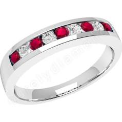 Ruby and Diamond Ring for Women in 9ct white gold with 5 round rubies and 4 round brilliant cut diamonds in a channel setting