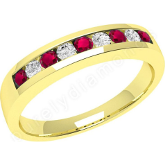Ruby and Diamond Ring for Women in 18ct yellow gold with 5 round rubies and 4 round brilliant cut diamonds in a channel setting