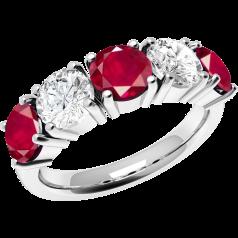RDR110W - 18kt Weissgold 5 Steine Ring mit Rubinen und Diamanten in Krappenfassung