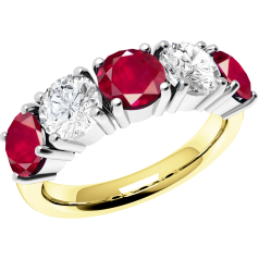 RDR110YW - 18ct yellow and white gold ruby and diamond claw set 5 stone ring