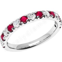 Ruby and Diamond Ring for Women in 18ct white gold with 15 stones in claw setting