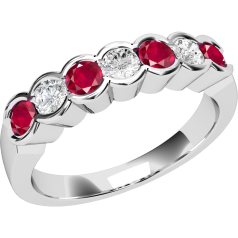 Ruby and Diamond Ring for Women in 9ct white gold with 7 stones in a rub-over setting
