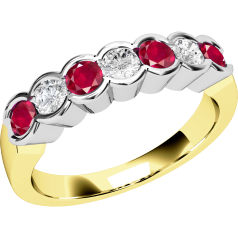 Ruby and Diamond Ring for Women in 9ct yellow and white gold with 7 stones in a rub-over setting