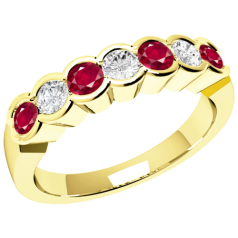 Ruby and Diamond Ring for Women in 18ct yellow gold with 7 stones in a rub-over setting