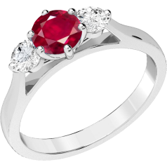 RDR202W - 18ct white gold ring with a claw set central round ruby and a round brilliant cut  diamonds on either side.